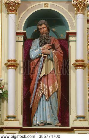 SVETI IVAN ZELINA, CROATIA - JUNE 26, 2013: Saint Paul statue on the high altar in the parish church of Saint John the Baptist in Sveti Ivan Zelina, Croatia