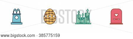 Set Stage Stand Or Tribune, Easter Egg, Burning Candles And Tombstone With Rip Written Icon. Vector