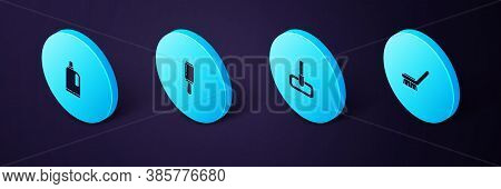 Set Isometric Brush For Cleaning, Mop, Adhesive Roller And Fabric Softener Icon. Vector