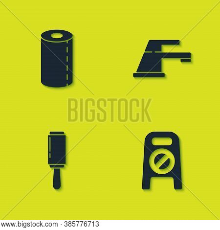 Set Paper Towel Roll, Wet Floor And Cleaning In Progress, Adhesive Roller And Water Tap Icon. Vector