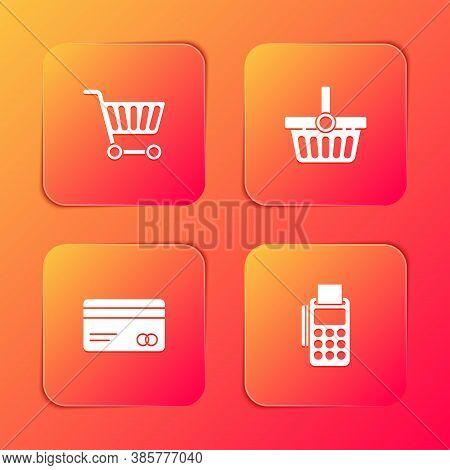 Set Shopping Cart, Basket, Credit Card And Pos Terminal With Credit Icon. Vector