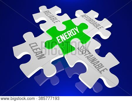 Energy Clean Reliable Affordable Sustainable Puzzle Pieces Future 3d Illustration 2