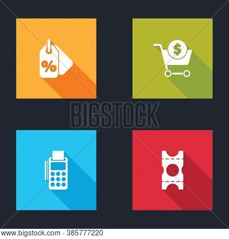 Set Discount Percent Tag, Shopping Cart And Dollar, Pos Terminal With Credit Card And Coupon Icon. V