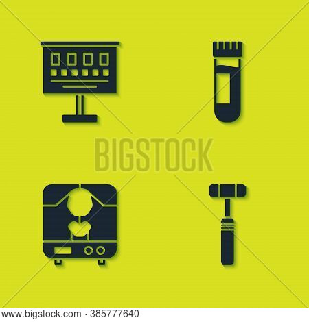Set Eye Test Chart, Neurology Reflex Hammer, X-ray Machine And Test Tube With Blood Icon. Vector