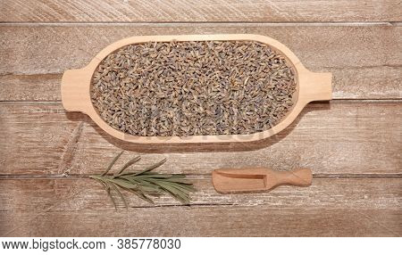 Lavender Lavandula angustifolia dried flowers herb view from above