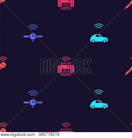 Set Smart Car System With Wireless, Smartwatch, Printer And Wireless Microphone On Seamless Pattern.