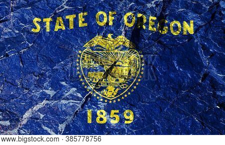 The Oregon State Flag Is The Only Reversible Navy Blue Flag With Gold Fringes. The Front Panel Has A