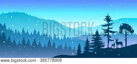 Winter Forest Landscape With Trees And Deer Silhouette, Hills, Snowflakes, Mountains. Nature Christm