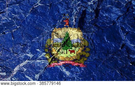 The National Flag Of The Us State Of Vermont On A Blue Background With The Coat Of Arms In The Cente