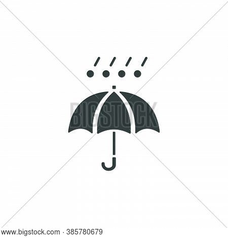 Umbrella, Hail And Rain. Isolated Icon. Weather Glyph Vector Illustration