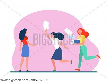 Distributors Running With Flyers. People Giving Papers, Spreading Leaflets Flat Vector Illustration.