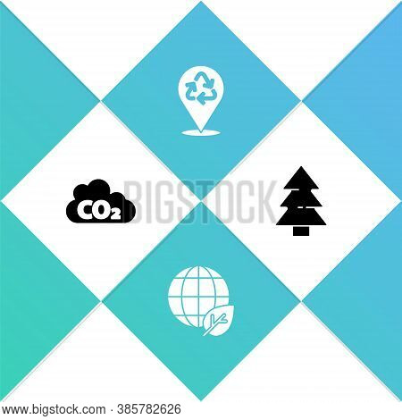 Set Co2 Emissions In Cloud, Earth Globe And Leaf, Recycle And Christmas Tree Icon. Vector