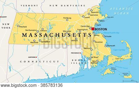 Massachusetts, Political Map With Capital Boston. Commonwealth Of Massachusetts, Ma. Most Populous S