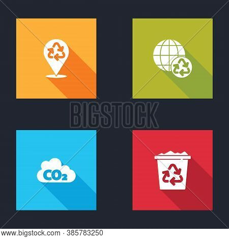 Set Recycle, Planet Earth And Recycling, Co2 Emissions Cloud And Bin With Recycle Icon. Vector