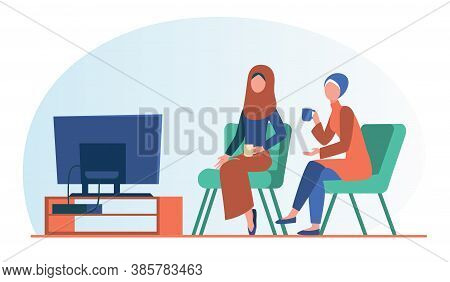 Muslim Women Sitting And Watching Tv. Tea, Hijab, Home Flat Vector Illustration. Leisure And Enterta
