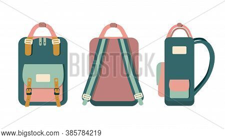 Hand Drawn Hipster Doodle Backpack In Different Projections:front,back And Side Isolated On White Ba