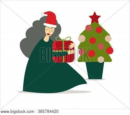 Illustration Of Woman Or Mrs Claus Character Leaving A Gift On Christmas