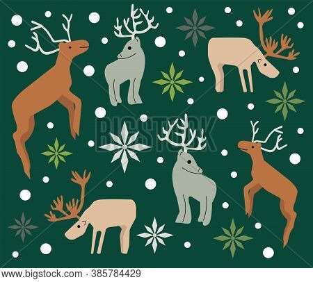 Illustration of Christmas pattern background with reindeers  and  snow flakes. Seamless graphic.