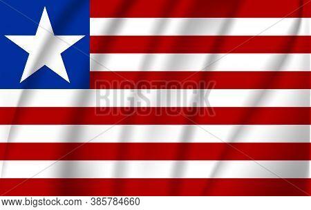 Realistic Waving Flag Of Republic Of Liberia. Fabric Textured Flowing Flag Of Liberia.