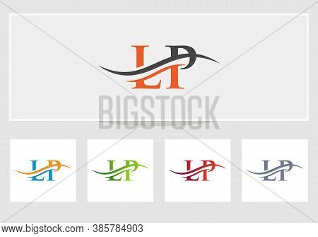 Lp Letter With Luxury Concept. Swoosh Letter Lp Logo Design For Business And Company Identity.