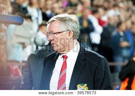 CLUJ-NAPOCA, ROMANIA - OCTOBER 2: Sir Alex Ferguson in UEFA Champions League match between CFR 1907 Cluj and Manchester United, Dr. C. Radulescu Stadium on 2 Oct., 2012 in Cluj-Napoca, Romania