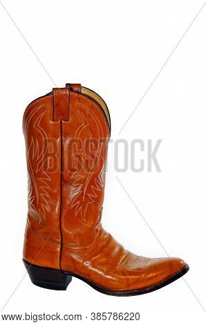 Men's Brown Leather Cowboy Boot Isolated On A White Background