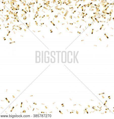 Confetti And Streamer Ribbon Falling On Transparent Background. Falling Shiny Gold Confetti. Bright