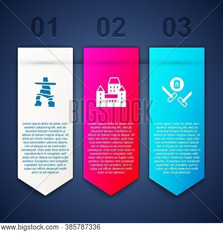 Set Inukshuk, Chateau Frontenac Hotel And Curling Sport Game. Business Infographic Template. Vector