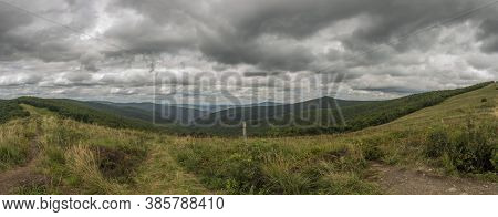 View From Ridge Of Poloniny National Park In Summer Cloudy Blue Sky Day