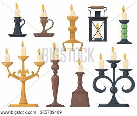 Vintage Candles In Candlesticks Flat Icon Set. Cartoon Elegant Victorian Candelabras And Retro Holde