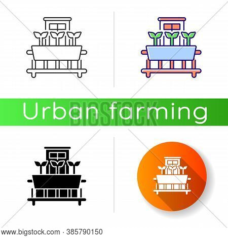 Windowsill Gardening Icon. Cultivate Plants On Window. Growing Sprout In Pots. Vegetable Growing On
