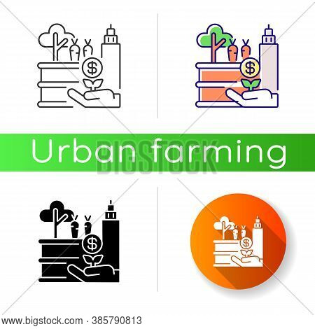 Tactical Garden Icon. Urban Farm. Horticulture In Town. Financial Profit Form Growing Plant. Income