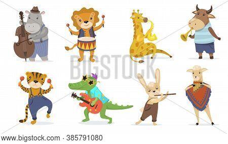 Cute Animals Playing Musical Instruments Flat Illustration Set. Cartoon Crocodile With Guitar, Giraf