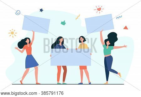 Crowd Of Protesting Women Holding Banners And Placards Isolated Flat Vector Illustration. Cartoon Fe