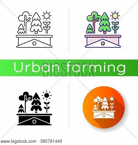 Green Roof Icon. Plants Grow On Building Rooftop. Lawn On Skyscraper. Urban Gardening. Ecological Ho