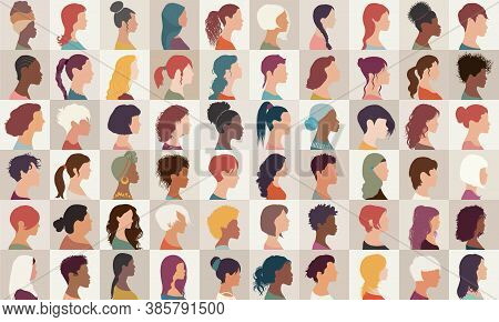 Avatar Set Portrait Collection Group Of Multiethnic Diversity Women And Girls Isolated.asian - Afric