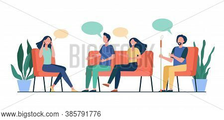 People Counseling With Psychologist Isolated Flat Vector Illustration. Cartoon Medical Doctor Talkin
