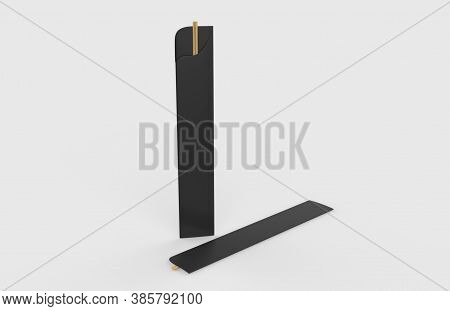 Sushi Chopsticks In A Protection Paper Sleeve, Isolated Over The White Background. 3d Illustration
