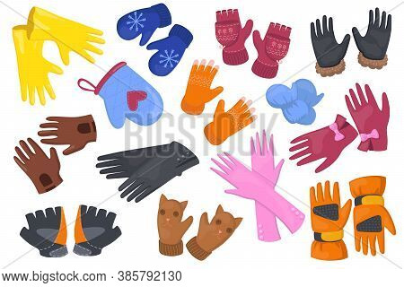 Different Gloves Flat Illustration Set. Cartoon Protective Pair Of Mittens, Mitts For Hands On White