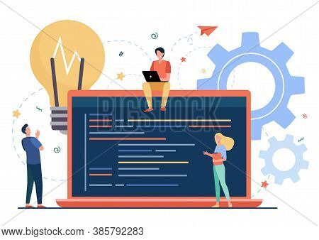 Tiny Programmers Coding New Project Isolated Flat Vector Illustration. Cartoon Coders, Developers An