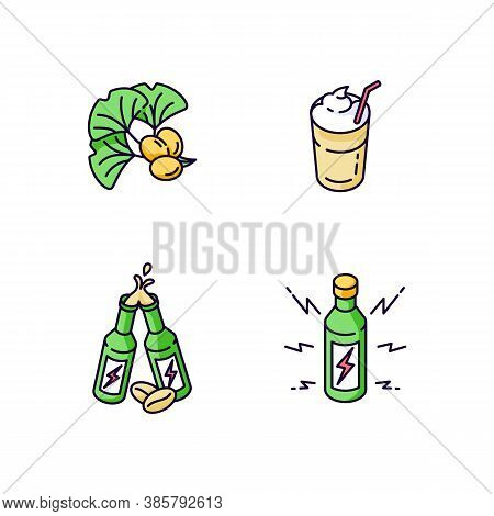 Caffeinated Drinks Rgb Color Icons Set. Ginkgo Biloba Ingredient. Coffee Mug. Energy Alcoholic Drink