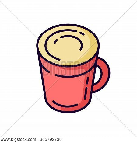 Latte Rgb Color Icon. Coffee Mug. Hot Beverage In Glass Cup. Cappuccino With Foam. Frappe With Froth