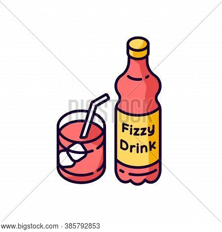 Fizzy Drink Rgb Color Icon. Iced Beverage In Bottle. Carbonated Liquid In Mug. Sparkling Soft Drink