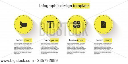 Set Roll Of Paper, Text, Cmyk Color Mixing And Document With Graph Chart. Business Infographic Templ