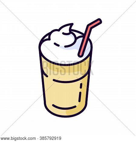 Mocha Rgb Color Icon. Coffee Drink With Foam And Straw. Beverage In Glass Mug. Cafe Menu. Refresheme