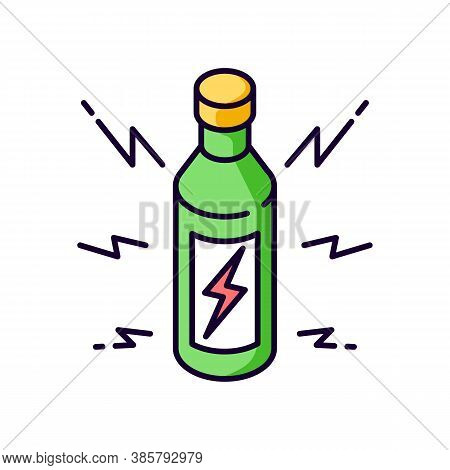 Energy Drink Rgb Color Icon. Beverage For Power Boost. Bottle With Bolt Sign. Energetic Effect. Bott