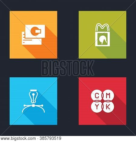 Set Business Card, Paper Shopping Bag, Fountain Pen Nib And Cmyk Color Mixing Icon. Vector