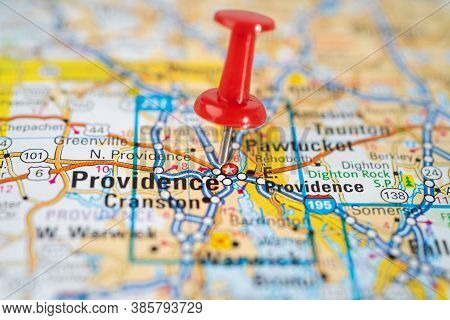 Bangkok, Thailand, June 1, 2020 Providence, Rhode Island, Road Map With Red Pushpin, City In The Uni