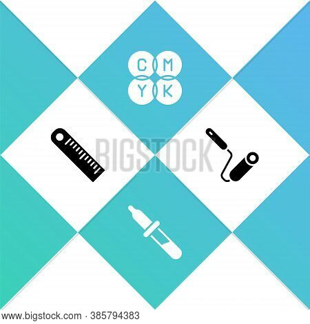 Set Ruler, Pipette, Cmyk Color Mixing And Paint Roller Brush Icon. Vector