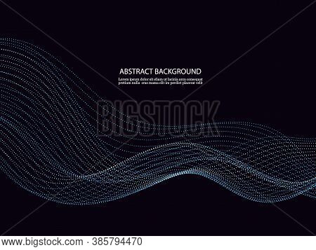 Dynamic Particles Sound Wave Flowing Over Dark. Blurred Lights Abstract Background. Beautiful Wave S